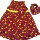 2Pcs African Prints Ankara Girls Red/Yellow Dress W/T Bow Headband (Fits 3-4Yrs)
