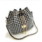 New Bohemia Style Print Chain Drawstring Bucket Messenger Black & White Handbag