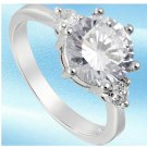 18k White GP White Solitaire engagement/Wedding Ring  -size 8