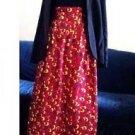 """African Fabric Red & Yellow High Waisted Handmade Maxi Skirt - Waist:32"""""""