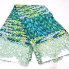 2 Yards Quality Blue/Green African Fabric Embroidered Lace Ankara Prints WT Ston