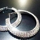 2 Row Silver Tone Crystals Hoop Earrings 40mm