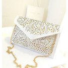 Women White Cutout Envelope Shoulder Handbag Clutch