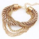Gold Plated Chain Braided Yellow Rope Multilayer Bracelet