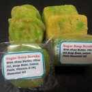 2 Bars Homemade Exfoliating Fresh Lemon And Orange Zest Soapy Sugar Scrub Bars