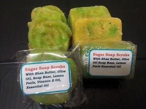 2 Bars Homemade Exfoliating Fresh Lemon And Orange Zest Soapy Sugar Scrub Bars