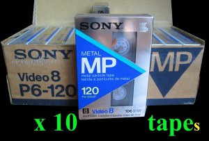 Lot of 10: SONY Metal MP Video8 8mm 120 Min. Camcorder Tape P6-120mp *NEW*