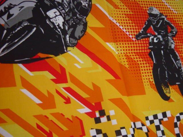 Motorcycle in flaming orange Valance Teens room window decor