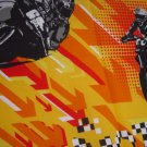 Motorcycle in flaming orange Valance Teens room window decor