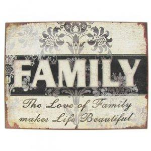 FAMILY WALL DECOR TIN 12.5X9.5