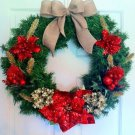 Christmas Wreath, Poinsetta Wreath, Holiday Wreath,