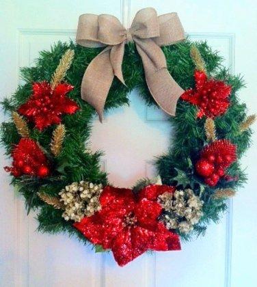 Christmas Wreath, Poinsetta Wreath, Holiday Wreath,