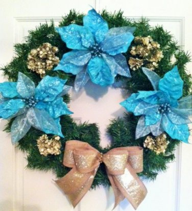 Christmas Wreath, Door Wreath, Turquoise Wreath