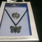 Claire's Interchangeable Metal Heart & Butterfly Necklace