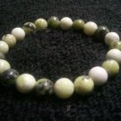 Handcrafted Genuine Yellow Turquoise & Peridot Jasper Gemstone Stretch Bracelet