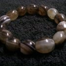 Handcrafted Genuine Striped Barrel Agate Gemstone Stretch Bracelet
