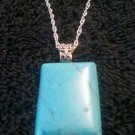 "18"" Turquoise Gemstone Amulet / Pendant Silver Plated Diamond Cut Necklace"