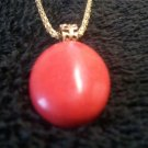 "18"" Red Coral Gemstone Amulet / Pendent Gold Plated Diamond Cut Necklace"