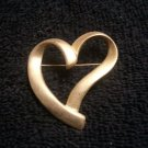 Beautiful Valentines Day Gold Plated Heart Brooch / Pin 1 3/4""