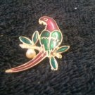 Multi-Color Gold Plated Parrot Brooch