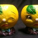 Decorative Ceramic Sour Lemon Pair Salt & Pepper Figurine Set