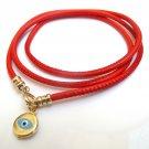 Kabbalah red string 14k gold blue evil eye bracelet hamsa luck wrap leather amulet jewelry