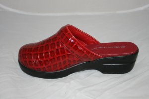 FASHIONABLE RED MULES- SLIP ON SHOE GREAT FOR RAIN BRIGHT COLORED VERY POPULAR