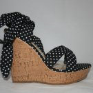 "4"" BLACK POLKA DOTTED WEDGES WITH CORK WEDGE"