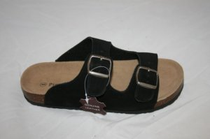 Comfort Sole Fitting Black Genuine Leather Sandals- 2 Buckles for Adjusting