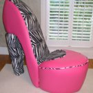 Zebra and Hot Pink High Heel Chair- Great Conversation Piece