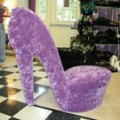 High Heel Chair in Purple Furry Fabric USA Made FREE shipping Handcrafted