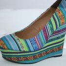 "Women's High Heel 5"" Wedges in Blue & Green Stripes 1"" Platform Canvas Shoe"