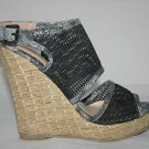 WOMEN&#39;S 4&quot; BLACK MESH WEDGE HIGH HEEL SHOES GRAY TIE DYE EDGE BASKET WEAVE HEEL