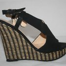 Black Women Wedge Shoe with Basket Weave Heel Crisscross Front and Open Toe