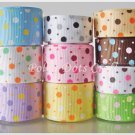 20 Yards Colorful Polka Dots Design Grosgrain Ribbons, Scrapbook, Party, Gift, S4
