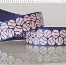 "1 Yard of 5/8"" Baseball Satin Ribbon, Blue, Scrapbooks, Headbands, Pony Tails, R105"