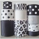 20 Yd &quot;Jungle-Black & White &quot; Ribbon Lot-Zebra, Leopard, Scrapbook, Zoo, Animal, S6