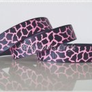 "1 Yard ""Black & Hot Pink Giraffe"" Grosgrain Ribbon, Zoo, Jungle, Wild Animal, Gift, R62"