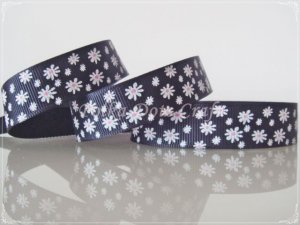 "1 Yard of 5/8"" Black Daisy Flower Grosgrain Ribbon, Spring/ Flower, Headbands, Hair Bows, R86"