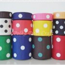 24 Yards Colorful Polka Dots Grosgrain Ribbons, Scrapbook, Party, Gift Wrap, S17