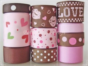 "20 Yards ""Brown Kisses"" Ribbon Set- Valentine's, Mother's Day, Hair Bows, Headbands, Scrapbook, S13"