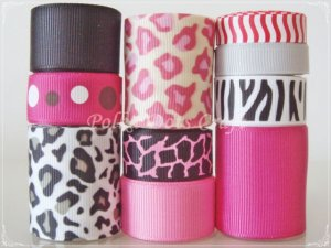 "20 Yd ""Pink Leopard"" Ribbon Lot-Zebra, Zoo, Animal, Jungle Safari,Scrapbook, Hair Bow, Wild Cat, S12"