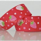 1 Yard of Strawberry Grosgrain Ribbon, Pink, Red, Fruit, Strawberries, Hair Bows, Scrapbook, R76