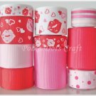 "20 Yards ""Kiss the Lips"" Ribbons, Valentine's, Mother's, Love, Heart, Pink, S5"