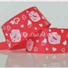 "1 Yard of 1"" ""Kisses - Red"" Grosgrain Ribbon, Lips, Heart, Love, Valentine's, R93"