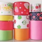 20 Yards Fruit Ribbon Set, Strawberry Citrus Cherry Lemon Apple Orange, S11