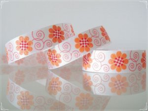 "1 Yard of 5/8"" ""Chamomilia Flower"" Satin Ribbon, Garden, Floral, Glitters, Hair Bows, R91"