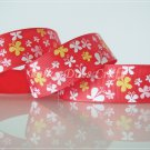 1 Yard of 1&quot; Butterfly Ribbon, Red, Spring, Garden, Flower, Headbands, Scrapbooks, R83