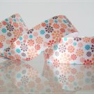 "1 Yard of 1"" Flower Design Satin Ribbon, white, red, turquoise, Head Bands, Hair Bows, R84"