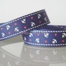 1 Yard of Anchor Grosgrain Ribbon, Blue, Sailor, Navy, Patriotic, R168